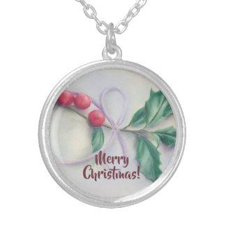 Colar Banhado A Prata Azevinho com Natal do Pastel do arco