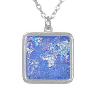 Colar Banhado A Prata azul 1 do mapa do mundo