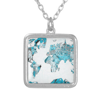 Colar Banhado A Prata azul 2 do mapa do mundo