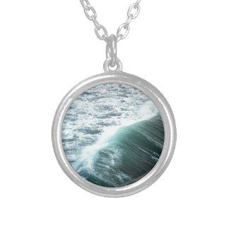 Colar Banhado A Prata Azul de Oceano Pacífico