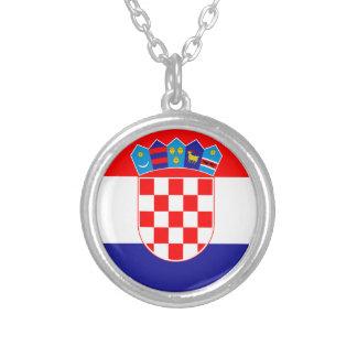 Colar Banhado A Prata Baixo custo! Bandeira croata