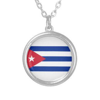 Colar Banhado A Prata Baixo custo! Bandeira de Cuba
