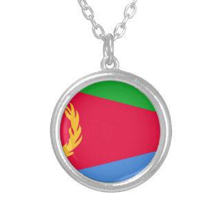 Colar Banhado A Prata Baixo custo! Bandeira de Eritrea