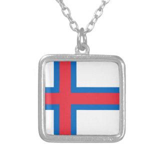 Colar Banhado A Prata Baixo custo! Bandeira de Faroe Island