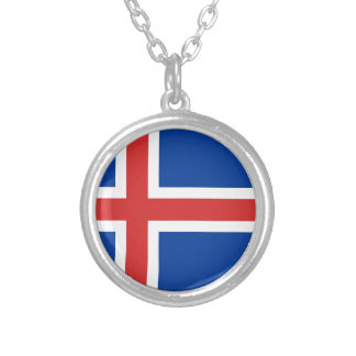 Colar Banhado A Prata Baixo custo! Bandeira de Islândia