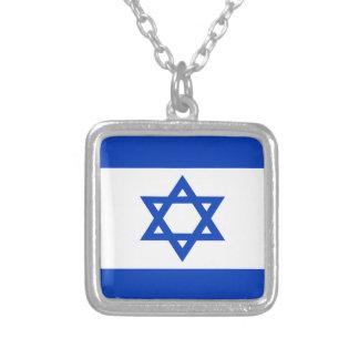 Colar Banhado A Prata Baixo custo! Bandeira de Israel