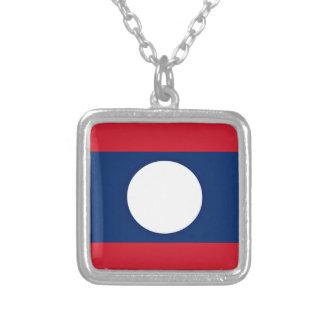 Colar Banhado A Prata Baixo custo! Bandeira de Laos