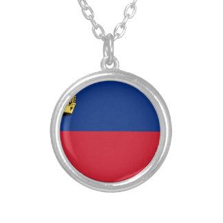Colar Banhado A Prata Baixo custo! Bandeira de Liechtenstein