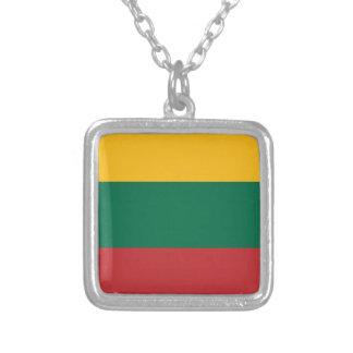 Colar Banhado A Prata Baixo custo! Bandeira de Lithuania