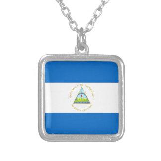 Colar Banhado A Prata Baixo custo! Bandeira de Nicarágua
