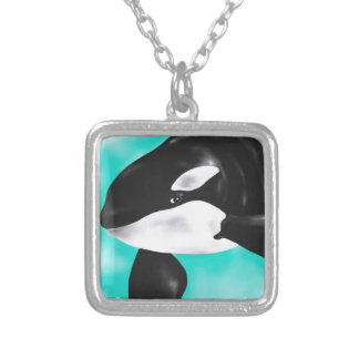 Colar Banhado A Prata Baleia bonito da orca
