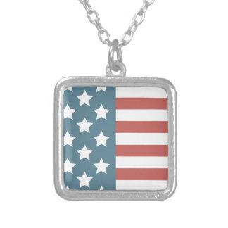 Colar Banhado A Prata Bandeira americana