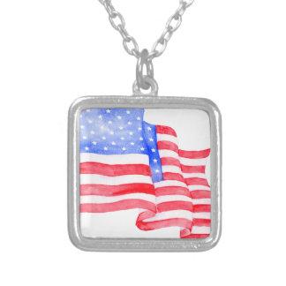 Colar Banhado A Prata Bandeira americana da aguarela