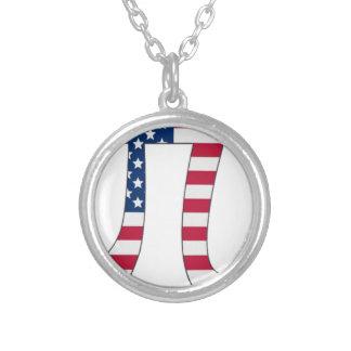 Colar Banhado A Prata Bandeira americana do dia do Pi, símbolo do pi