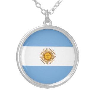 Colar Banhado A Prata Bandeira argentina patriótica