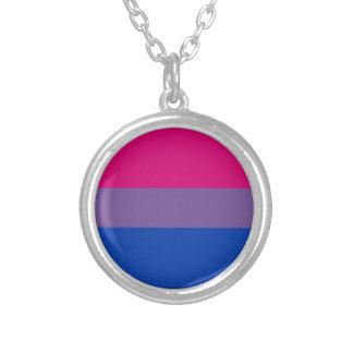 Colar Banhado A Prata Bandeira bissexual do arco-íris do orgulho de LGBT