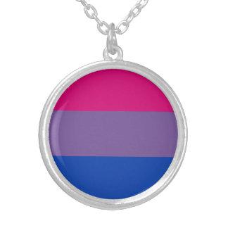 Colar Banhado A Prata Bandeira bissexual do orgulho