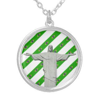 Colar Banhado A Prata Bandeira brasileira das listras