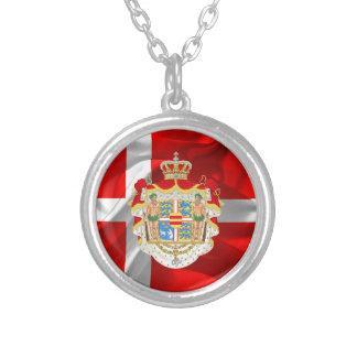 Colar Banhado A Prata Bandeira-Casaco dinamarquês dos braços