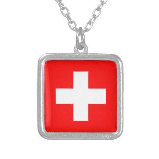 Colar Banhado A Prata Bandeira da suiça