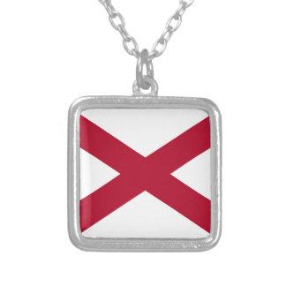 Colar Banhado A Prata Bandeira de Alabama