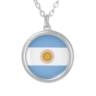 Colar Banhado A Prata Bandeira de Argentina - bandera de Argentina