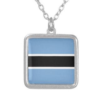 Colar Banhado A Prata Bandeira de Botswana