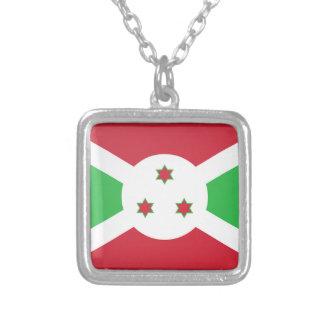 Colar Banhado A Prata Bandeira de Burundi