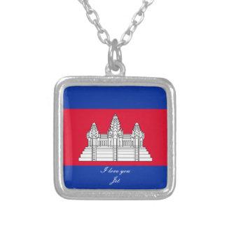 Colar Banhado A Prata Bandeira de Cambodia