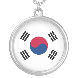 Colar Banhado A Prata Bandeira de Coreia do Sul