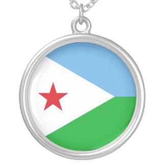 Colar Banhado A Prata Bandeira de Djibouti