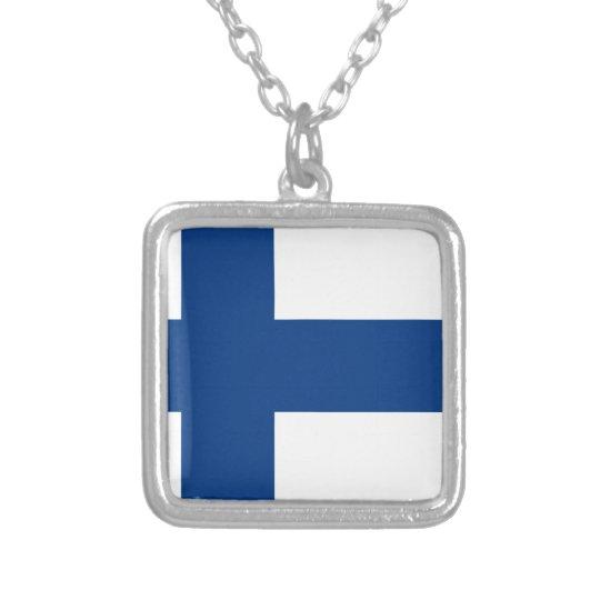Colar Banhado A Prata Bandeira de Finlandia (lippu de Suomen, flagga de