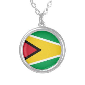 Colar Banhado A Prata Bandeira de Guyana