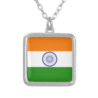 Colar Banhado A Prata Bandeira de India Ashoka Chakra