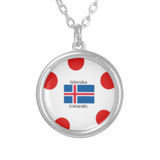 Colar Banhado A Prata Bandeira de Islândia e design islandês da língua