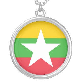 Colar Banhado A Prata Bandeira de Myanmar