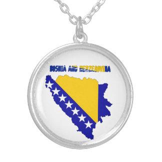 Colar Banhado A Prata Bandeira de país bosniana