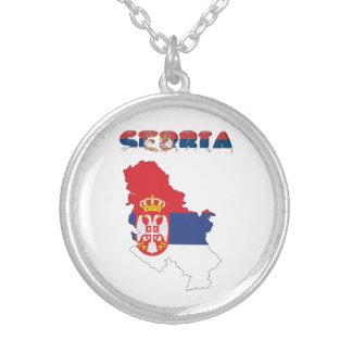 Colar Banhado A Prata Bandeira de país sérvio
