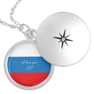 Colar Banhado A Prata Bandeira de Rússia