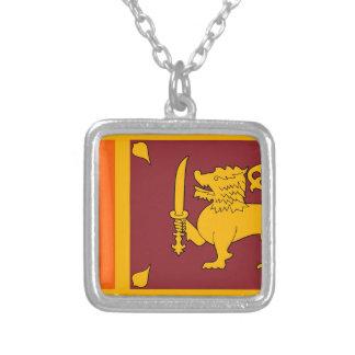 Colar Banhado A Prata Bandeira de Sri Lanka