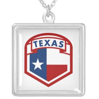 Colar Banhado A Prata Bandeira de Texas