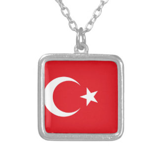 Colar Banhado A Prata Bandeira de Turquia
