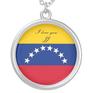 Colar Banhado A Prata Bandeira de Venezuela