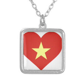 Colar Banhado A Prata Bandeira de Vietnam - vàng do sao do đỏ do amor