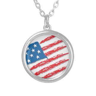 """Colar Banhado A Prata Bandeira do """"abstrato"""" dos EUA"""
