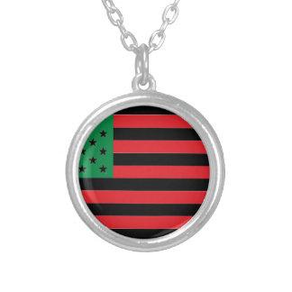 Colar Banhado A Prata Bandeira do afro-americano - preto e verde