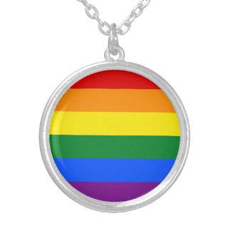 Colar Banhado A Prata Bandeira do arco-íris