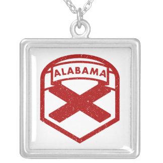 Colar Banhado A Prata Bandeira do estado de Alabama