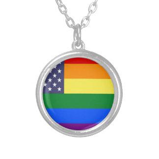 Colar Banhado A Prata Bandeira do orgulho do arco-íris dos E.U.