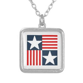 Colar Banhado A Prata Bandeira dos Estados Unidos bonito